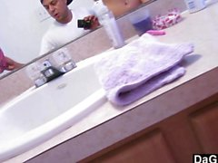 Grumpy Girlfriend Gets Filled In The Bathroom