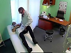 Busty blonde nurse fucking her doctor in an office