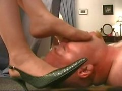 Vinyl Queen Trampling In High Heels and Pantyhose Foot Worship