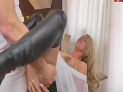 German Blonde Milf gets fucked on table with facial