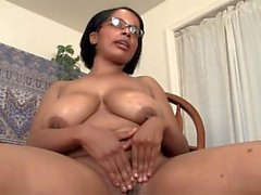 Big breasted bbw cutie Natalia fingering her black beaver