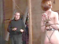 Highheeled sub spanked on the catwalk
