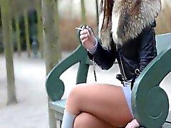 Smoking fetish dangling crushing cigarette julie