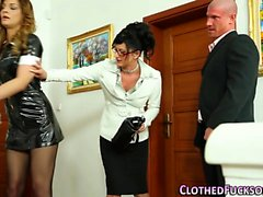 Classy maid gets facial