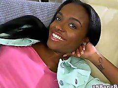 Newbie ebony teen gets facialized by a whitey