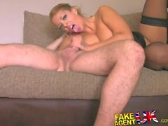 FakeAgentUK Babe with huge 34J sized tits smother agent on casting couch