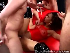African beauty gets disgraced in this interracial gang bang