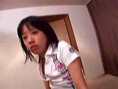 Adorable Oriental teen with a divine ass sucks and fucks a