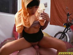 Huge cock inside this hot Arab teen pussy