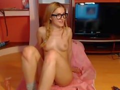 Skinny teen glasses webcam