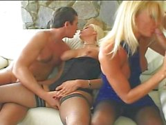 Two dicks playing with two blond sluts