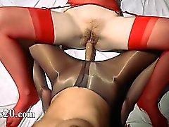 Unique lesbs in pantyhose using strap