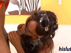 Ebony babe gets slammed