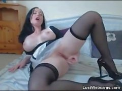 Busty hottie dildoing her ass on webcam