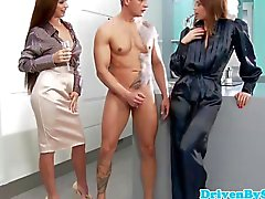 CFNM femdom babes demand chef to fuck them