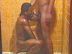 Vintage ebony gay bathroom sex