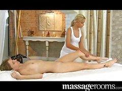 Beautiful lesbian oily labia massage