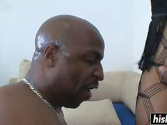 BBW ebony gets a rock solid boner