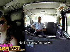 Female Fake Taxi Sexy Cabbie in red dress fucks