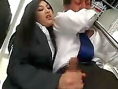 Asian Handjob in Public Bus