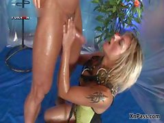 Filthy blonde whore loves watersports part2