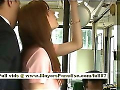 Rio asian teen babe getting her hairy pussy fondled on the bus