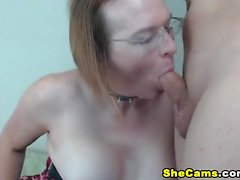 Blowjob and titjob from hot busty amateur blonde