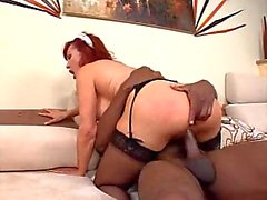 Redhead housemaid fed up with chocolate dick
