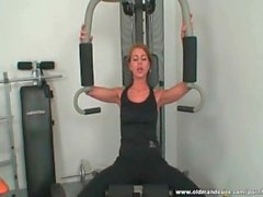 Gorgeous babe rides cock in the gym