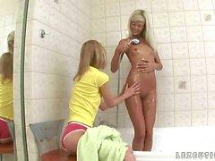 Cute teens having nasty sex in the bathroom