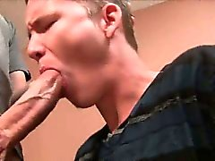 Straight hunk sucks and tugs a cock for some cash