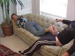 pantyhose play and footjob