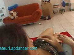 Czech lady lapdances in latex dress