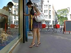 Window shopping in italian high heel sandals