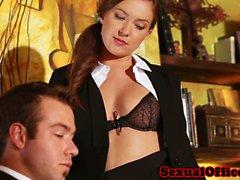 Redhead office secretary banging the boss