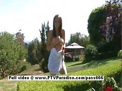 Gabby stunning long hair redhead girl outdoor posing