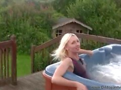 tracey - dildo swimsuit in the hot tub