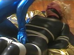 Bound and Gagged in Catsuit Fondled and Groped