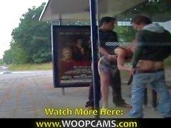 Public fucking at bus station