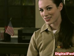 Petite military babe Stoya office demands oral from private