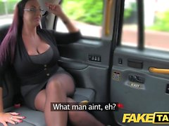 Fake Taxi Secretary looking lady with huge tits