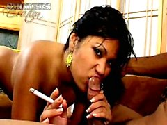 Exotic whore in yellow thong Kyanne Lee smoking and sucking