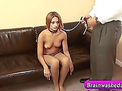 Hypnotized tranced teen on leash