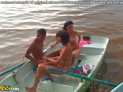 Crazy college anal sex on a boat