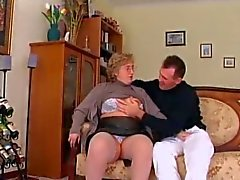 Chubby Granny in Stockings Sucks and Fucks