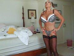 Huge tits granny Sally Dangelo seduces a boy
