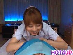 Akiho Yoshizawa nurse sucks dong and rubs it with tits for