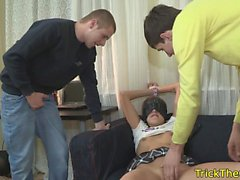 Restrained russian gf facialized by stranger