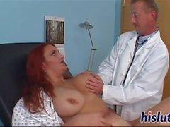 Curvy redhead babe fucks her doctor