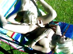 Pool, palms and sweet blond lesbians